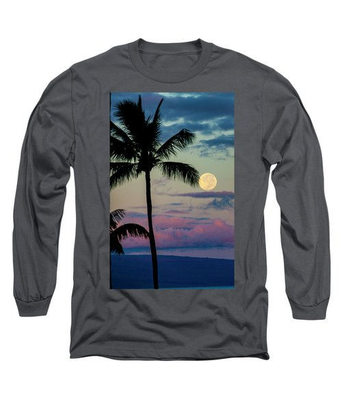 Full Moon And Palm Trees Long Sleeve T-Shirt