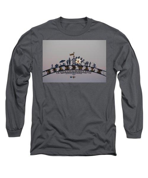 Full Moon In The Boardwalk Arch Ferris Wheel Long Sleeve T-Shirt