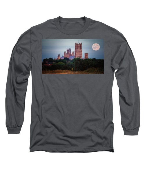 Full Moon Over Ely Cathedral Long Sleeve T-Shirt