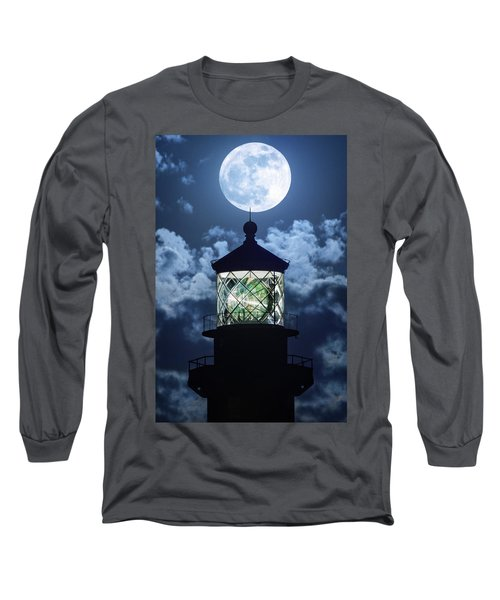 Full Moon Over Hillsboro Lighthouse In Pompano Beach Florida  Long Sleeve T-Shirt
