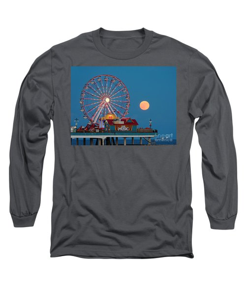 Full Moon Rising Above The Gulf Of Mexico - Historic Pleasure Pier - Galveston Island Texas Long Sleeve T-Shirt
