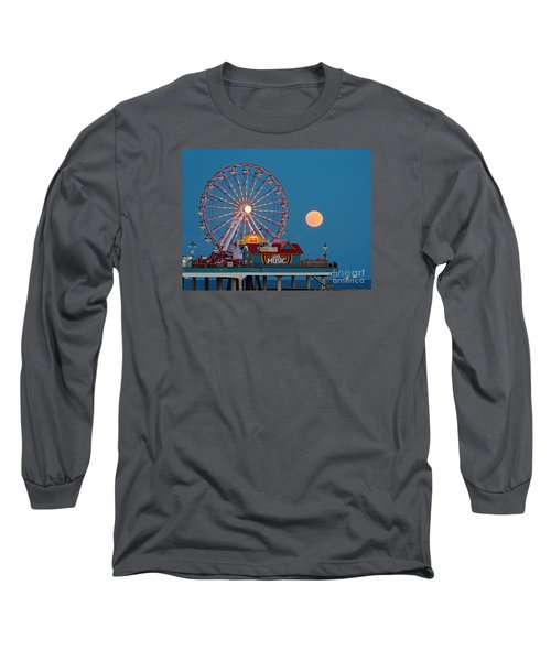 Full Moon Rising Above The Gulf Of Mexico - Historic Pleasure Pier - Galveston Island Texas Long Sleeve T-Shirt