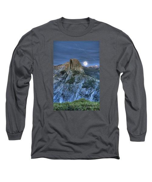 Full Moon Rising Behind Half Dome Long Sleeve T-Shirt by Jim And Emily Bush
