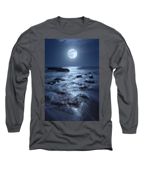 Full Moon Rising Over Coral Cove Beach In Jupiter, Florida Long Sleeve T-Shirt