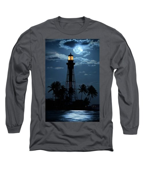Full Moon Rising Over Hillsboro Lighthouse In Pompano Beach Florida Long Sleeve T-Shirt
