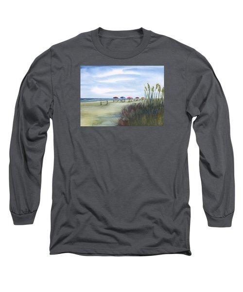 Fun At Folly Field Beach Long Sleeve T-Shirt by Frank Bright