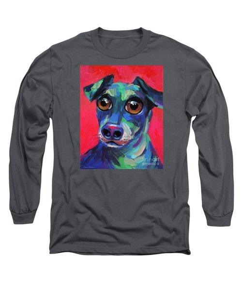Funny Dachshund Weiner Dog With Intense Eyes Long Sleeve T-Shirt by Svetlana Novikova