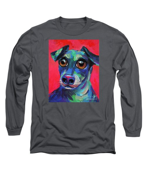 Funny Dachshund Weiner Dog With Intense Eyes Long Sleeve T-Shirt