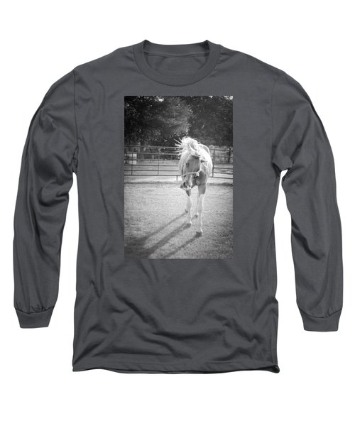 Long Sleeve T-Shirt featuring the photograph Funny Horse In Black And White by Kelly Hazel