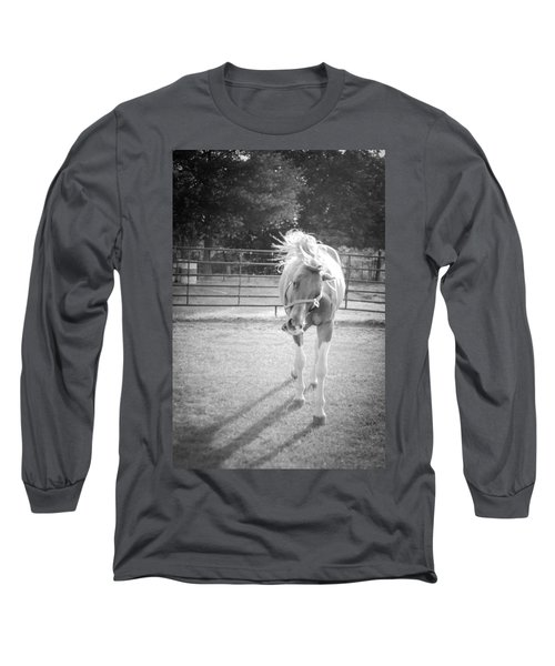 Funny Horse In Black And White Long Sleeve T-Shirt