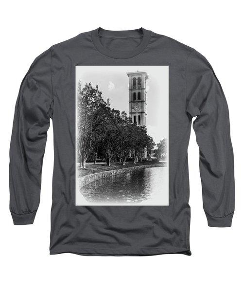 Furman University Bell Tower Greenville South Carolina Black And White Long Sleeve T-Shirt