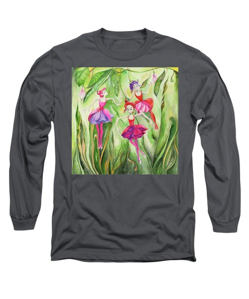 Fuschia On Discovering The Truth Long Sleeve T-Shirt by Nadine Dennis