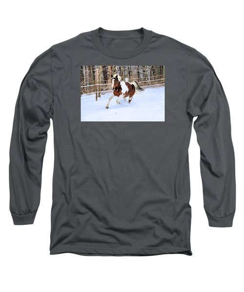 Galloping In The Snow Long Sleeve T-Shirt by Elizabeth Dow