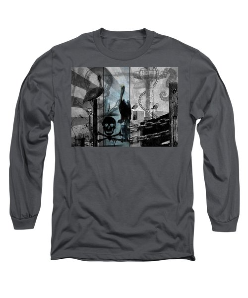 Galveston - Home To Pirates And Pelicans Long Sleeve T-Shirt by Karl Reid