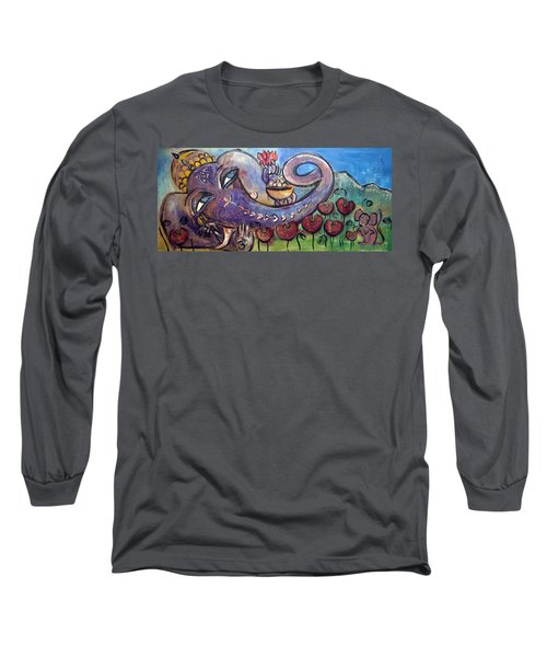 Ganesha With Poppies Long Sleeve T-Shirt