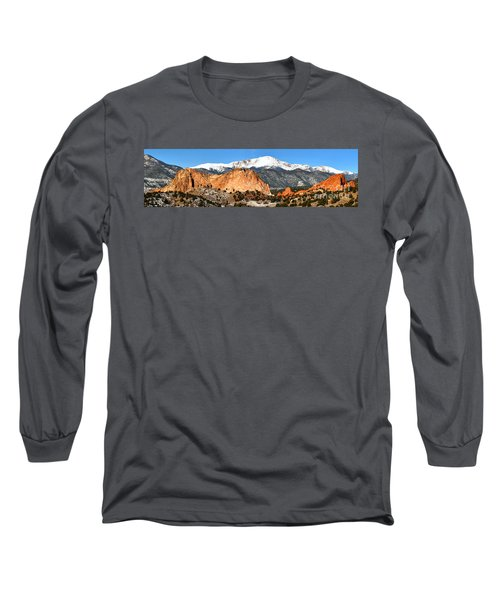 Long Sleeve T-Shirt featuring the photograph Garden Of The Gods Medium Panorama by Adam Jewell