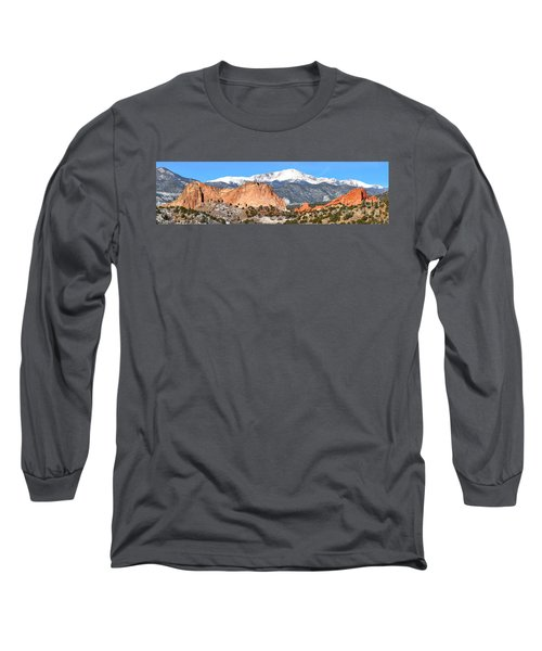 Long Sleeve T-Shirt featuring the photograph Garden Of The Gods Panorama by Adam Jewell