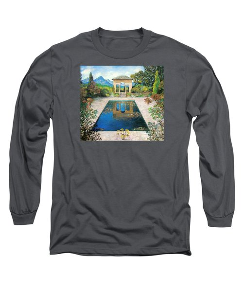 Long Sleeve T-Shirt featuring the painting Garden Reflection Pool by Lou Ann Bagnall