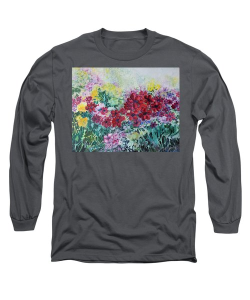 Garden With Reds Long Sleeve T-Shirt by Joanne Smoley