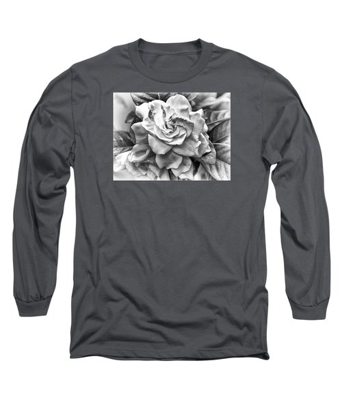 Gardenia Black And White Long Sleeve T-Shirt by Barbara Middleton
