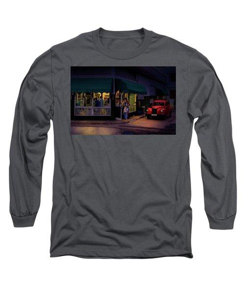 Gasolinera Linea Y Calle E Havana Cuba Long Sleeve T-Shirt by Charles Harden