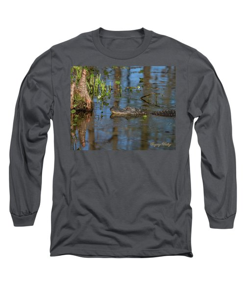 Gator In Cypress Lake 3 Long Sleeve T-Shirt by Gregory Daley  PPSA
