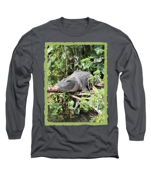 Gator In Green Long Sleeve T-Shirt by Carol Groenen