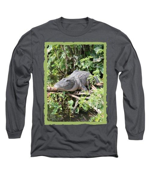 Gator In Green Long Sleeve T-Shirt by Carol Groenen