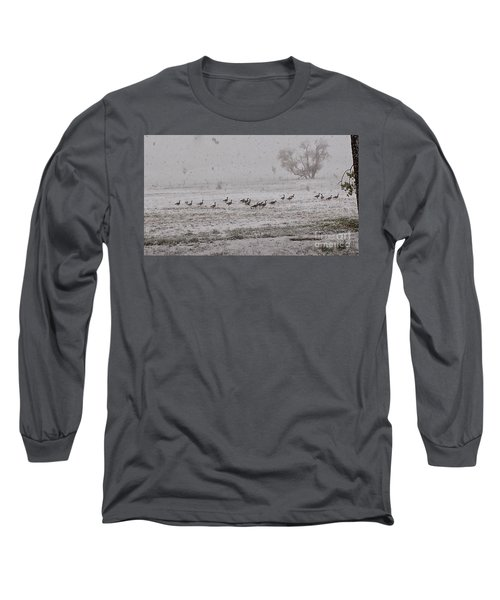 Geese Walking In The Snow Long Sleeve T-Shirt