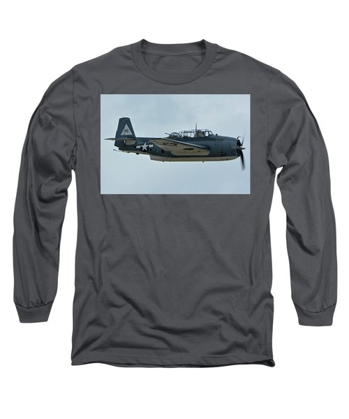 Long Sleeve T-Shirt featuring the photograph General Motors Tbm-3e Avenger Nx7835c Chino California April 30 2016 by Brian Lockett