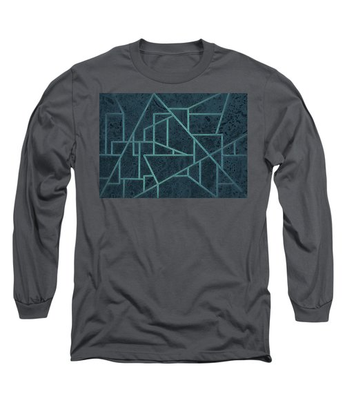 Geometric Abstraction In Blue Long Sleeve T-Shirt