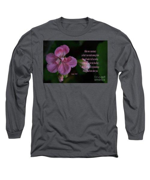 Geranium After The Rain Scripture Long Sleeve T-Shirt by Debby Pueschel
