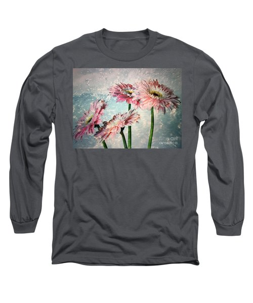 Gerbera Daisies With A Splash Long Sleeve T-Shirt