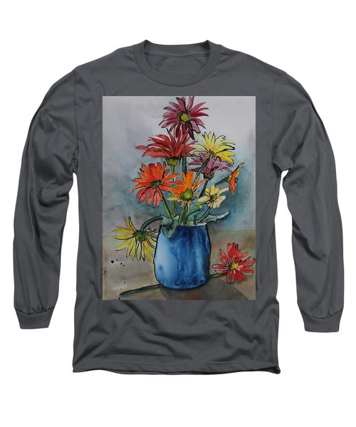 Gerberas In A Blue Pot Long Sleeve T-Shirt