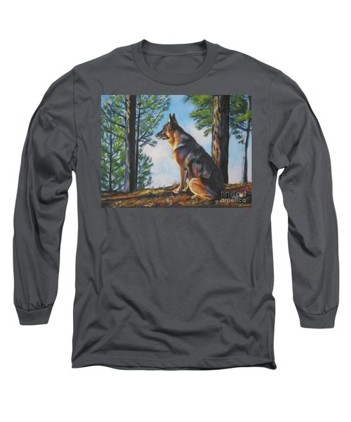 German Shepherd Lookout Long Sleeve T-Shirt by Lee Ann Shepard