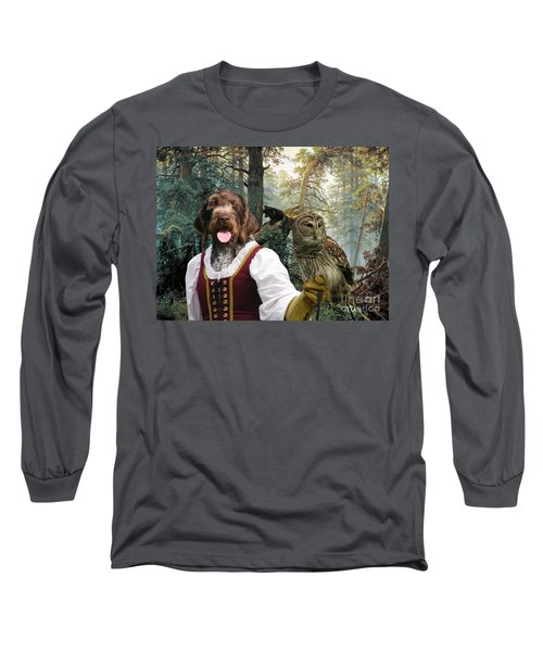 German Wirehaired Pointer Art Canvas Print - Lady Owl And Little Bears Long Sleeve T-Shirt