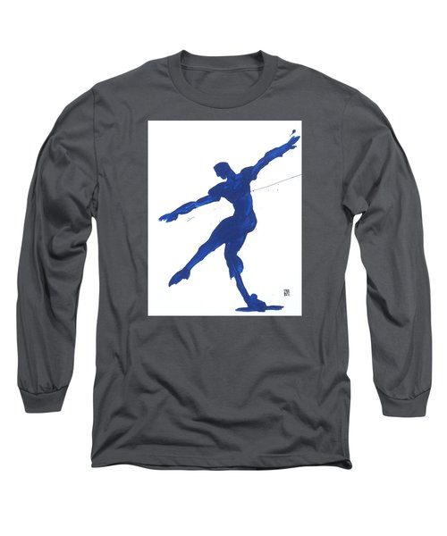 Long Sleeve T-Shirt featuring the painting Gesture Brush Blue 2 by Shungaboy X
