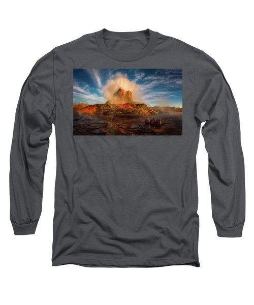 Geyser Steams At Dawn Long Sleeve T-Shirt
