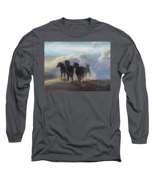 Ghost Horses Long Sleeve T-Shirt by Karen Kennedy Chatham