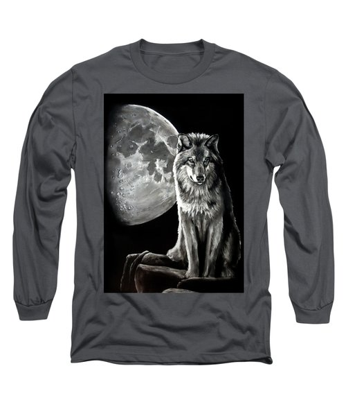 Gibbous Wolf Long Sleeve T-Shirt