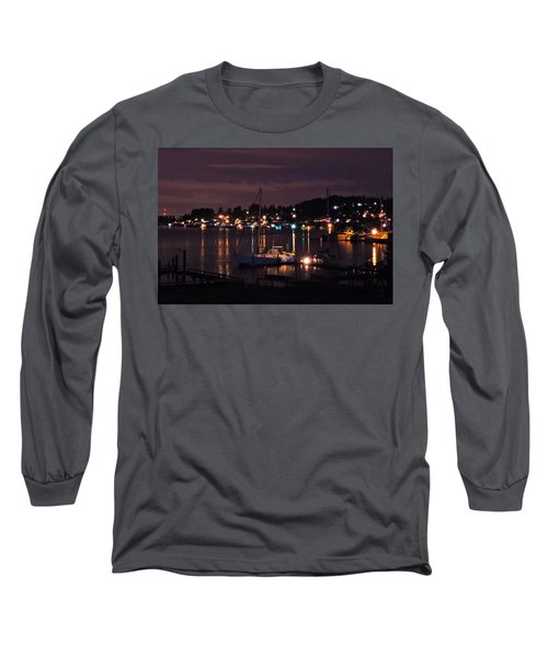 Long Sleeve T-Shirt featuring the photograph Gig Harbor At Night by Jack Moskovita