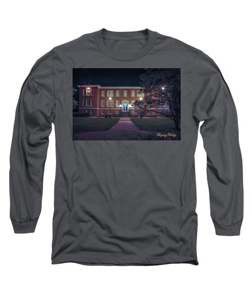 Long Sleeve T-Shirt featuring the photograph Girard Hall At Night by Gregory Daley  PPSA