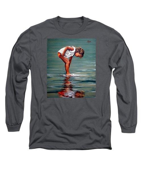 Girl At Shore  Long Sleeve T-Shirt by Natalia Tejera