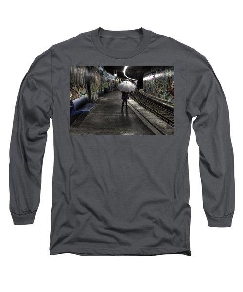 Girl At Subway Station Long Sleeve T-Shirt