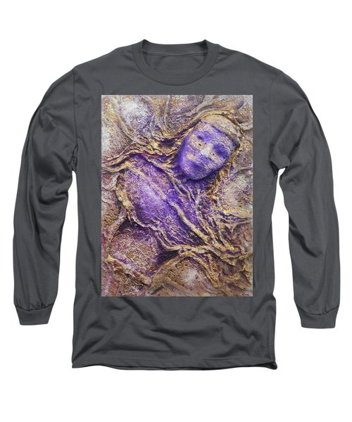 Long Sleeve T-Shirt featuring the mixed media Girl In Purple by Angela Stout