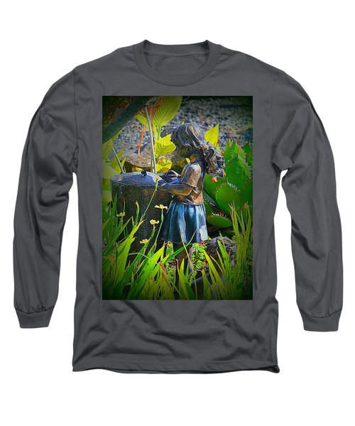 Long Sleeve T-Shirt featuring the photograph Girl In The Garden by Lori Seaman