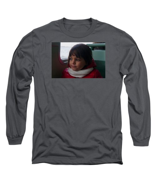 Long Sleeve T-Shirt featuring the photograph Girl On A Water Taxi  by Laura Ragland
