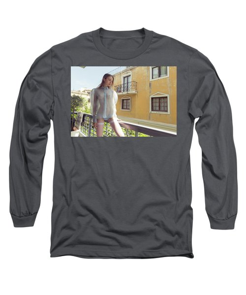 Girl On Balcony Long Sleeve T-Shirt