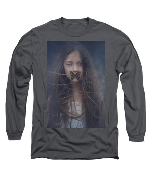 Girl With Butterfly Over Lips Long Sleeve T-Shirt