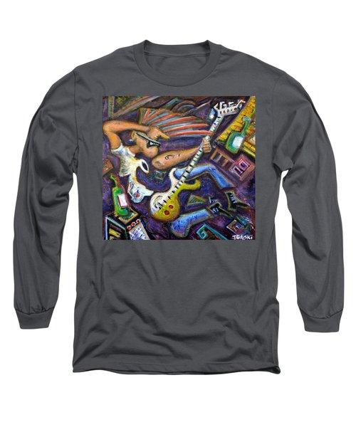 Give Em The Boot - Punk Rock Cubism Long Sleeve T-Shirt by Jason Gluskin